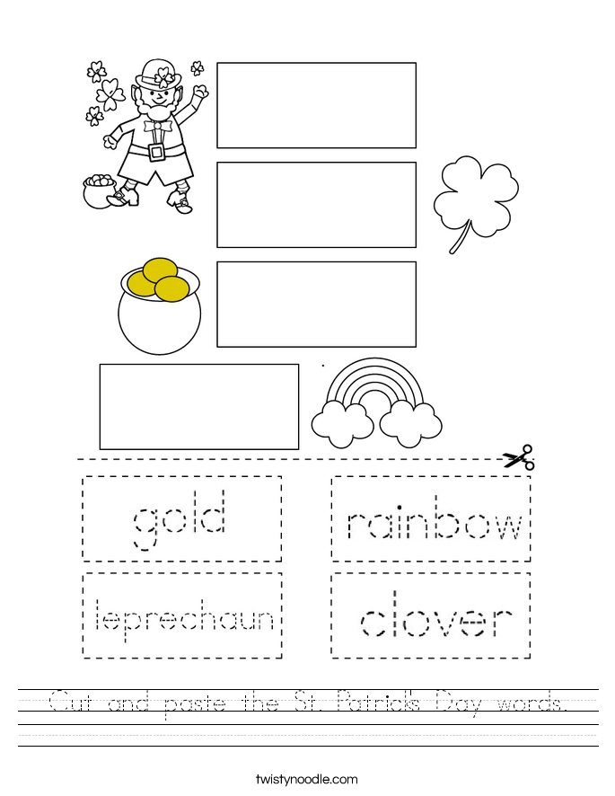 Cut and paste the St. Patrick's Day words. Worksheet