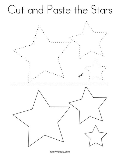 Cut and Paste the Stars Coloring Page