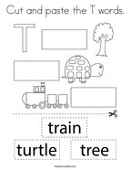 Cut and paste the T words Coloring Page