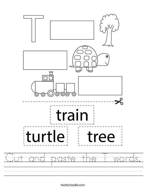 Cut and paste the T words. Worksheet