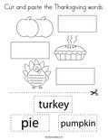 Cut and paste the Thanksgiving words. Coloring Page
