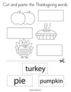 Cut and paste the Thanksgiving words Coloring Page