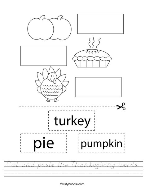 Cut and paste the Thanksgiving words. Worksheet