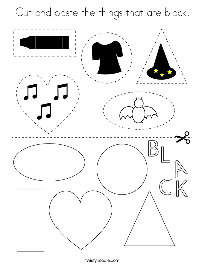Cut and paste the things that are black. Coloring Page