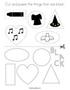 Cut and paste the things that are black Coloring Page