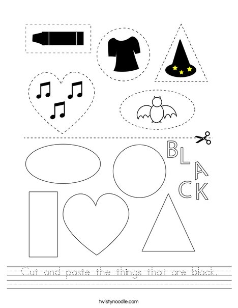 Cut and paste the things that are black. Worksheet