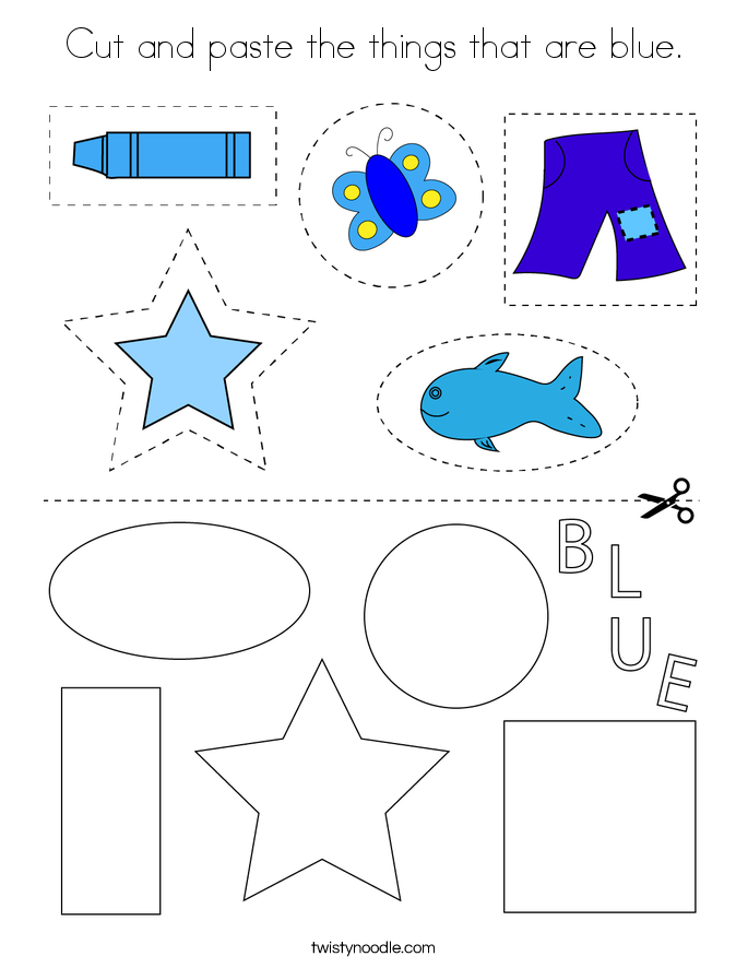 Cut and paste the things that are blue. Coloring Page