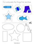 Cut and paste the things that are blue Coloring Page