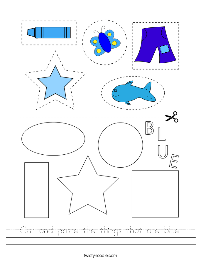 Cut and paste the things that are blue. Worksheet
