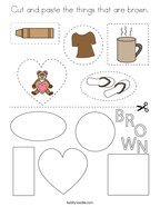 Cut and paste the things that are brown Coloring Page