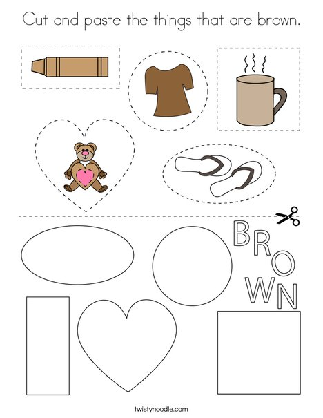 Cut and paste the things that are brown. Coloring Page