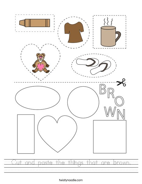 Cut and paste the things that are brown. Worksheet