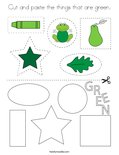Cut and paste the things that are green. Coloring Page