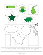 Cut and paste the things that are green Handwriting Sheet