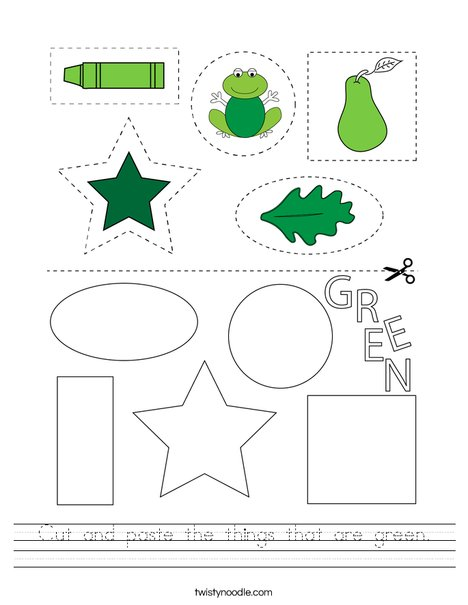 Cut and paste the things that are green. Worksheet