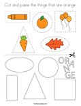 Cut and paste the things that are orange. Coloring Page