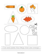 Cut and paste the things that are orange Handwriting Sheet