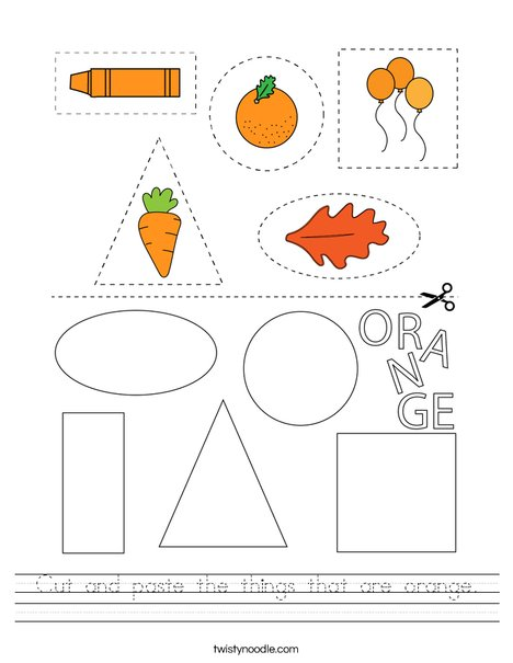 Cut and paste the things that are orange. Worksheet