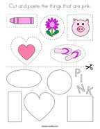 Cut and paste the things that are pink Coloring Page
