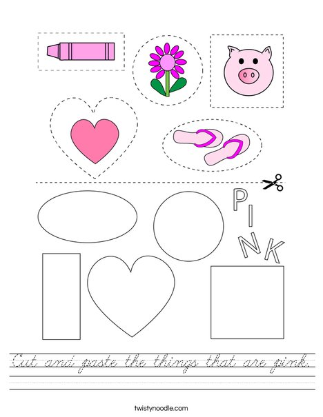 Cut and paste the things that are pink. Worksheet