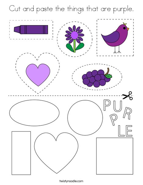 Cut and paste the things that are purple. Coloring Page