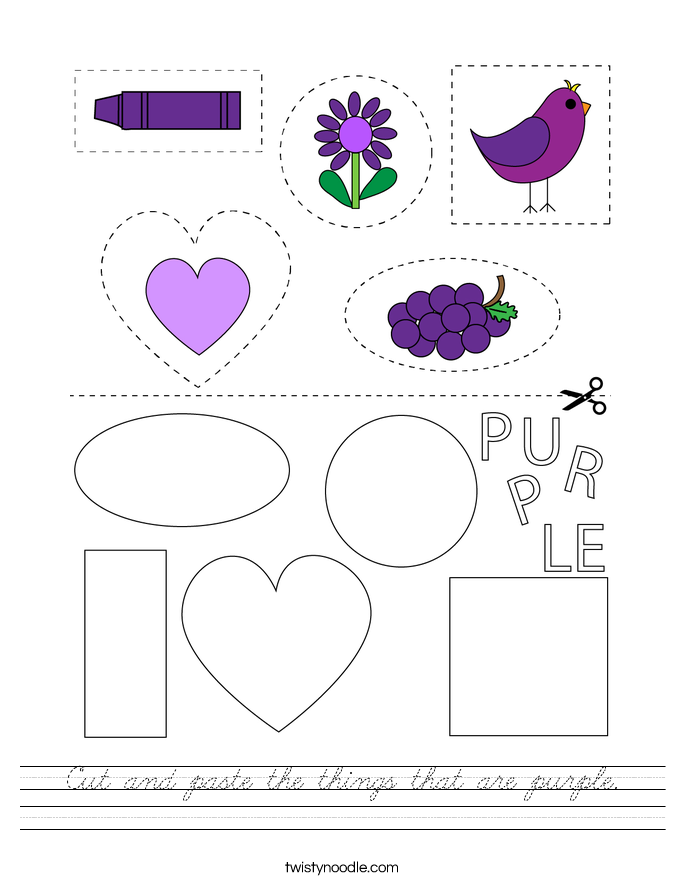 Cut and paste the things that are purple. Worksheet