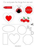 Cut and paste the things that are red. Coloring Page