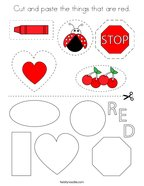 Cut and paste the things that are red Coloring Page
