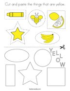 Cut and paste the things that are yellow Coloring Page
