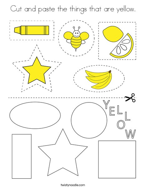 Cut and paste the things that are yellow. Coloring Page