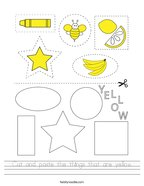 Cut and paste the things that are yellow Handwriting Sheet