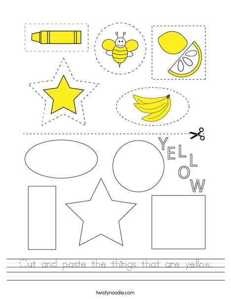 Cut and paste the things that are yellow. Worksheet