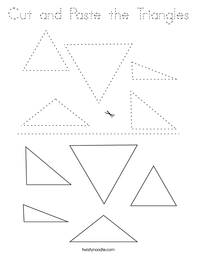 Cut and Paste the Triangles Coloring Page