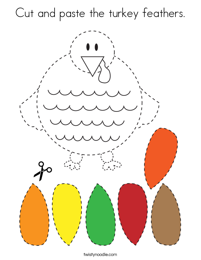 Cut and paste the turkey feathers. Coloring Page