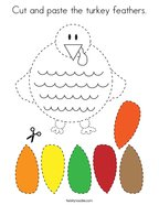 Cut and paste the turkey feathers Coloring Page