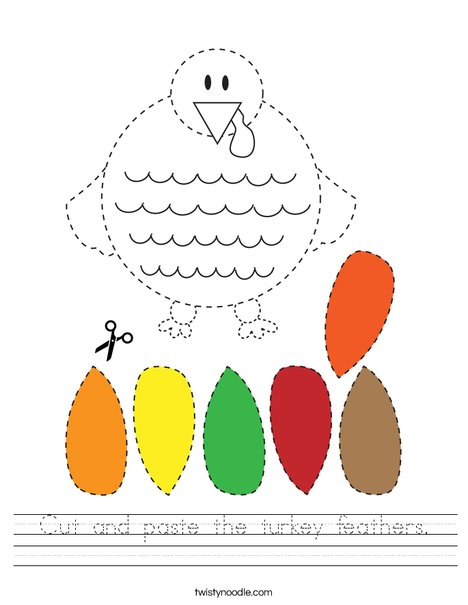 Cut and paste the turkey feathers. Worksheet