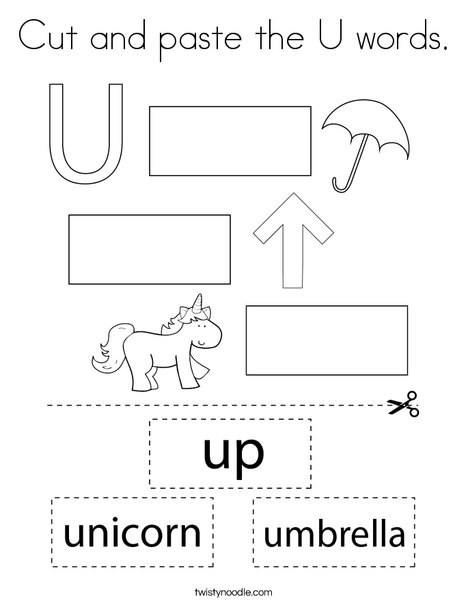 Cut and paste the U words. Coloring Page