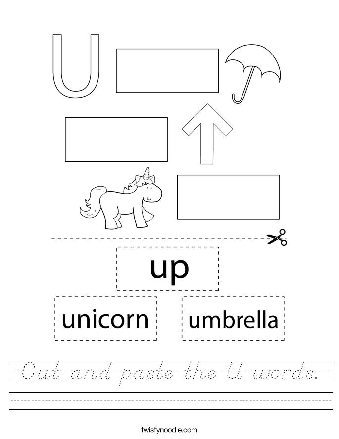 Cut and paste the U words. Worksheet