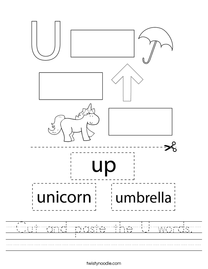 Cut and paste the U words. Worksheet