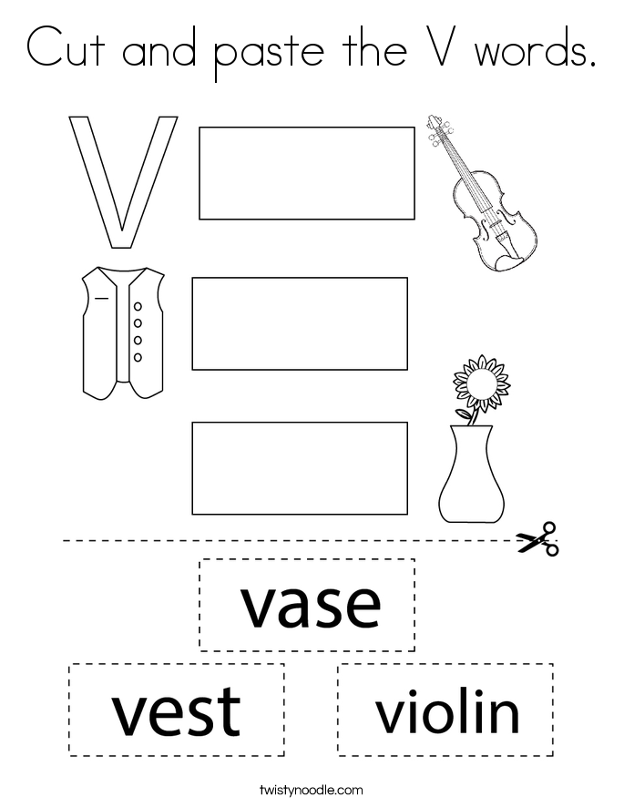 Cut and paste the V words. Coloring Page