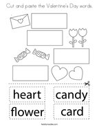 Cut and paste the Valentine's Day words Coloring Page