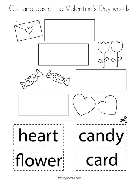 Cut and paste the Valentine's Day words. Coloring Page