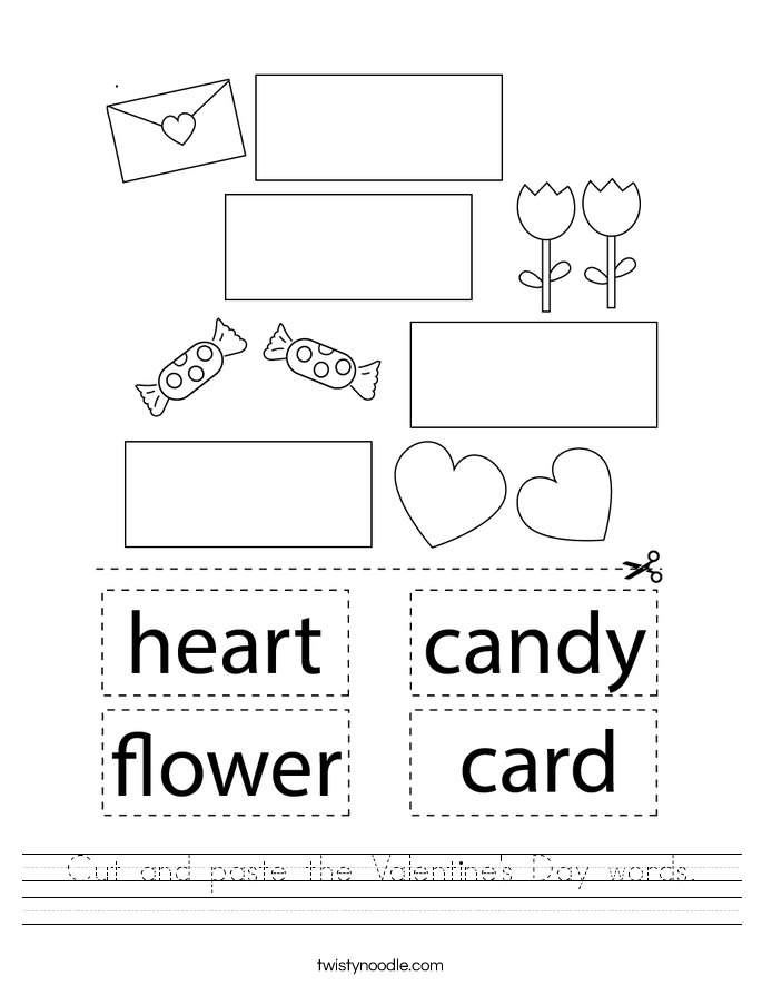 Cut and paste the Valentine's Day words. Worksheet