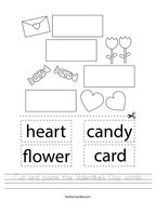 Cut and paste the Valentine's Day words Handwriting Sheet