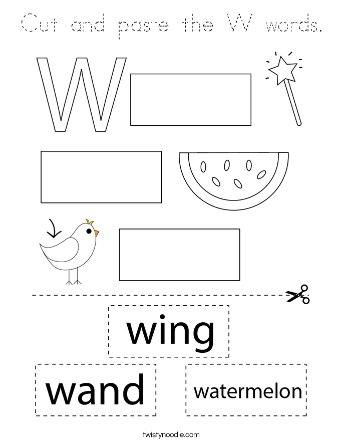 Cut and paste the W words. Coloring Page