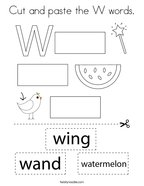 Cut and paste the W words Coloring Page