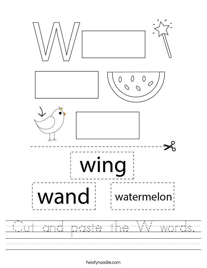 Cut and paste the W words. Worksheet