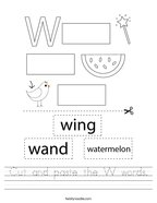 Cut and paste the W words Handwriting Sheet