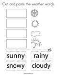 Cut and paste the weather words. Coloring Page