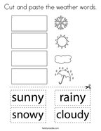 Cut and paste the weather words Coloring Page